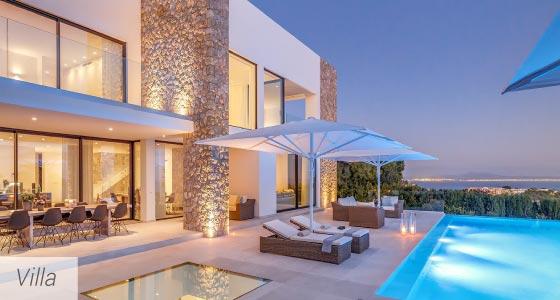 Villa und Luxusvilla